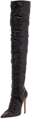 Alexandre Birman Susanna Scrunch Leather Over-The-Knee Boots