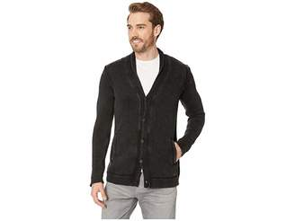 John Varvatos Shawl Cardigan with Woven Patches in Acid Wash
