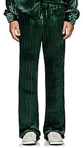 Faith Connexion Men's Striped Velvet Pajama Pants-Dk. Green