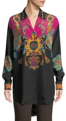 Etro Button-Front Long-Sleeve Damask-Print Silk Blouse