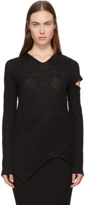 Proenza Schouler Black Long Sleeve Spiral T-Shirt
