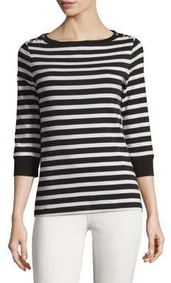 Jones New York Cotton Three-Quarter Sleeve Pullover