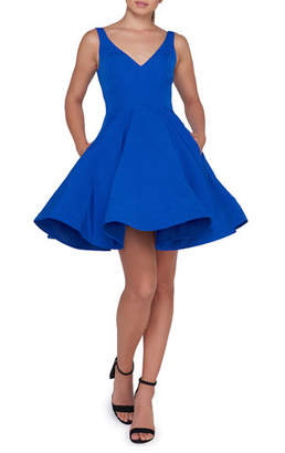 Mac Duggal Ieena for Sleeveless V-Neck Fit-and-Flare Dress w/ Dramatic Skirt
