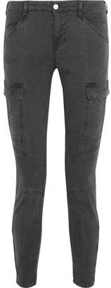 J Brand - Houlihan Cropped Stretch-cotton Twill Skinny Pants - Anthracite $230 thestylecure.com