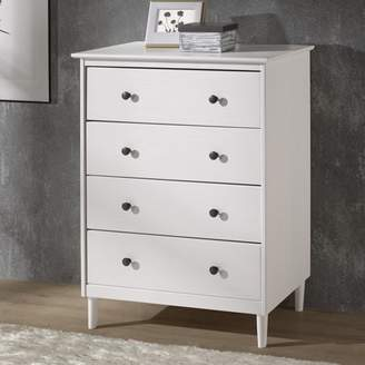 Mid-Century MODERN Manor Park Classic 4-Drawer Solid Wood Dresser - White