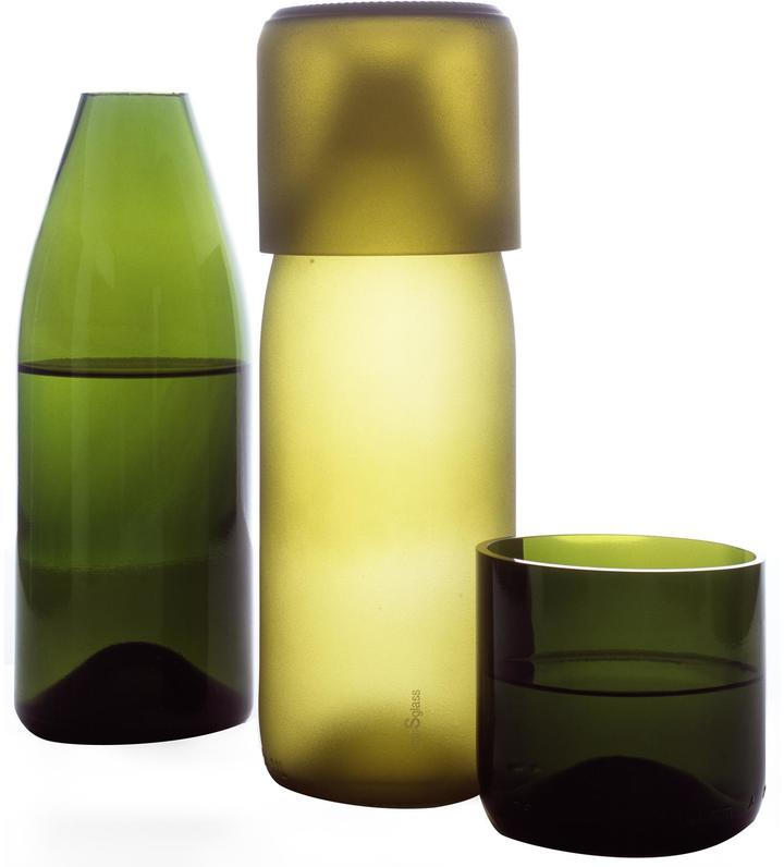 Artecnica Recycled Glass Carafe with Tumbler Lid