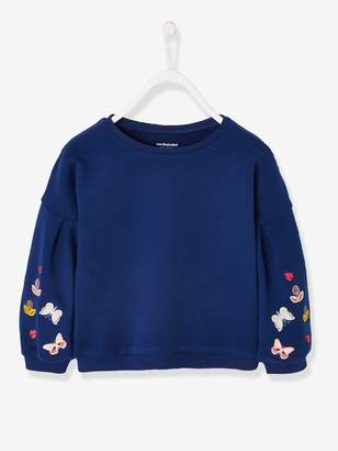 Vertbaudet Sweatshirt with Butterflies on the Sleeves, for Girls