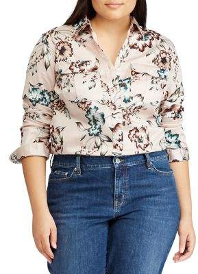 Lauren Ralph Lauren Plus Floral Cotton Sateen Shirt