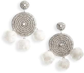 Topshop Beaded Pom Drop Earrings