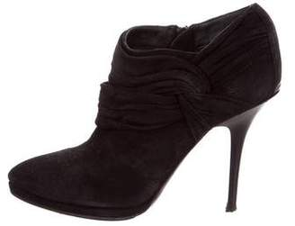 Burberry Ruched Suede Booties