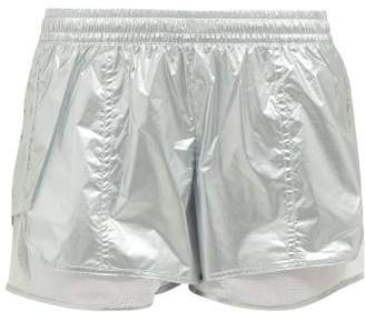 adidas by Stella McCartney Metallic Nylon Performance Shorts - Womens - Silver