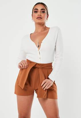 Missguided Petite Rust Tie Front Shorts