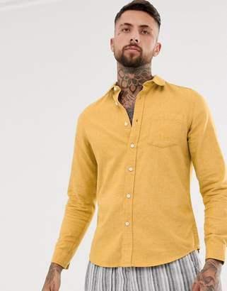 Asos Design DESIGN regular fit flannel marl shirt in mustard