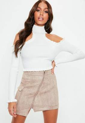 Missguided White High Neck Cold Shoulder Knit Crop Top