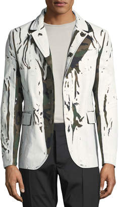 Valentino Men's Distressed Camo Twill Sport Coat