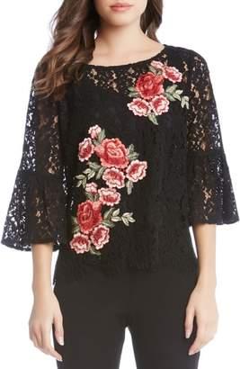 Karen Kane Lace Embellished Bell Sleeve Top
