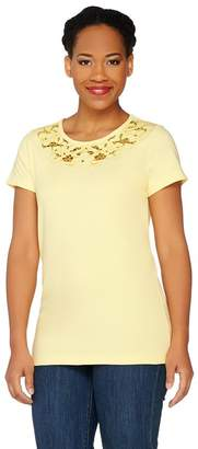 Isaac Mizrahi Live! Floral Cut-Out Scoop Neck Knit T-shirt