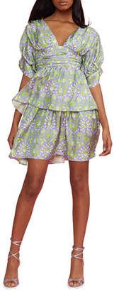 Cynthia Rowley Frieda Printed Puff-Sleeve Tiered Mini Dress