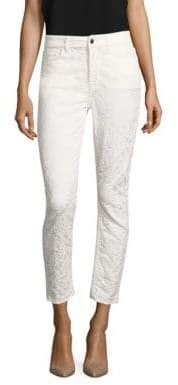 7 For All Mankind Floral Jacquard Ankle Skinny Jeans