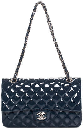 Chanel Navy Quilted Patent Medium Double Flap Bag