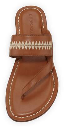 Bernardo Mary Embroidered Slide Sandals, Brown