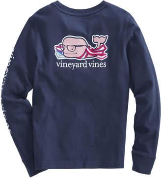 Vineyard Vines Girls Long-Sleeve Back To School Whale Pocket Tee