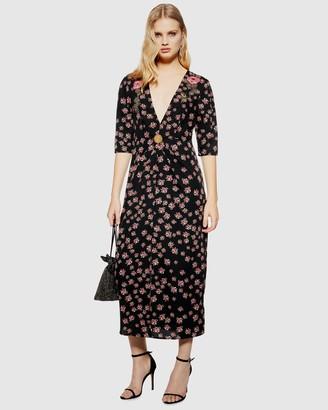 Topshop Ditsy Embellished Midi Dress