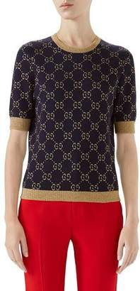 Gucci Crewneck Short-Sleeve Metallic GG Jacquard Sweater