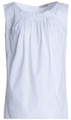 Nina Ricci Ruffle-Trimmed Pleated Cotton-Poplin Top