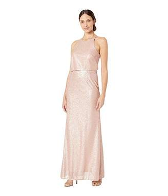 Adrianna Papell Sequin Halter Popover Modified Mermaid Evening Gown