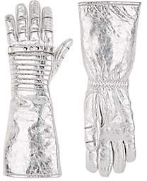 Calvin Klein Women's Long Leather Gloves - Silver
