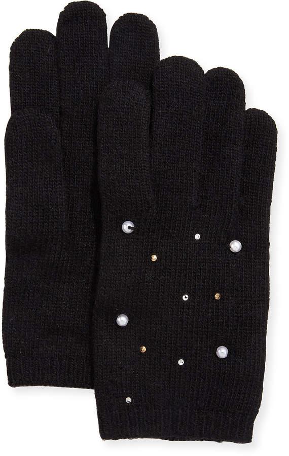 Portolano Cashmere Jersey Pearl/Stud Gloves