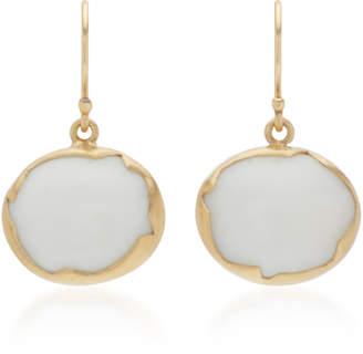 Annette Ferdinandsen Egg 18K Gold And White Coral Drop Earrings