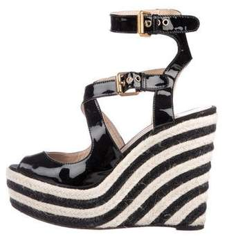 Brian Atwood Patent Leather Platform Wedges