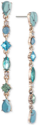 Carolee Gold-Tone Colored Stone Linear Drop Earrings