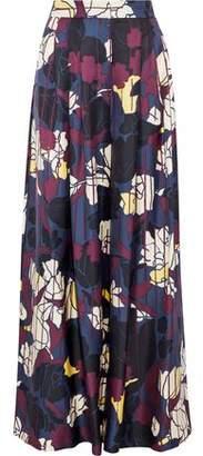 Roksanda Pleated Printed Silk-Twill Wide-Leg Pants