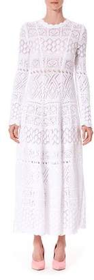Carolina Herrera Long-Sleeve Macrame Midi Dress