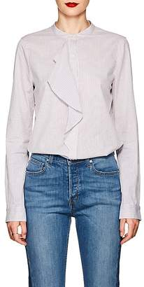 Derek Lam 10 Crosby Women's Ruffled-Front Striped Cotton Blouse