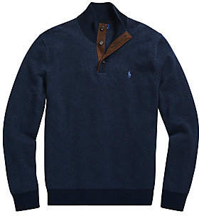 Polo Ralph Lauren Men's Herringbone Quarter Placket Wool Sweater