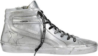 Golden Goose Slide Limited Edition Silver High-Top Sneakers