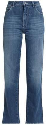 ALEXACHUNG Frayed High-Rise Straight-Leg Jeans