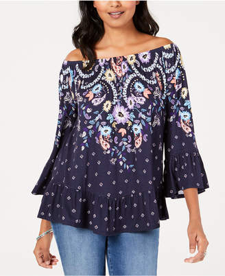 Style&Co. Style & Co Petite Printed Off-The-Shoulder Top