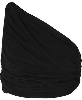 Norma Kamali Diana One-shoulder Ruched Stretch-jersey Top - Black