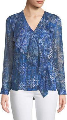 Elie Tahari Zona Graphic-Print Long-Sleeve Silk Blouse