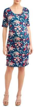 Liz Lange Maternity Maternity Elbow Sleeve Scoop Neck Side Ruched Dress