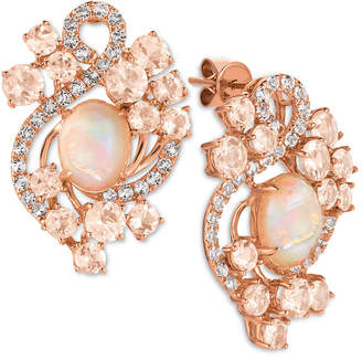 LeVian Le Vian Crazy Collection Neapolitan Opal (2-3/10 ct. t.w.), Peach Morganite (3-1/5 ct. t.w.) and White Topaz (9/10 ct. t.w.) Stud Earrings in 14k Rose Gold
