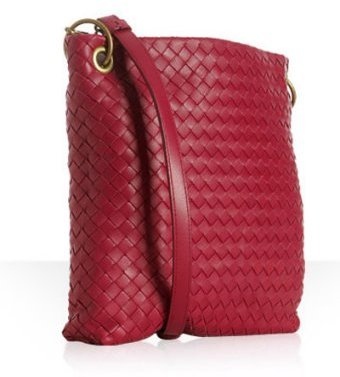 Bottega Veneta rose woven leather small messenger bag