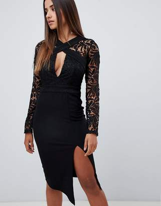 Love Triangle cut work lace top midi pencil dress in black