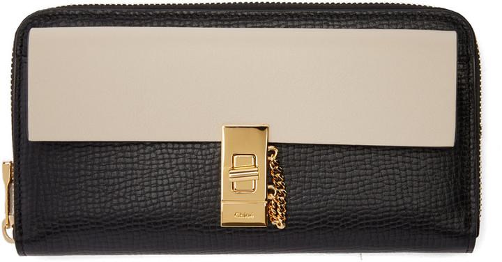 Chloé Chloé Black & Off-White Drew Zip Wallet