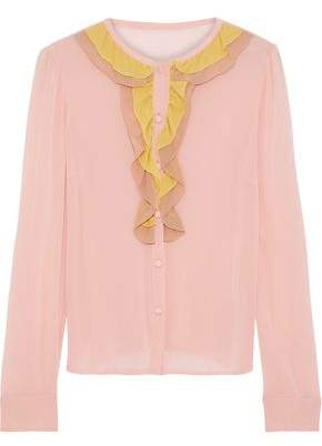 RED Valentino Ruffled Color-Block Silk-Blend Crepe De Chine Blouse